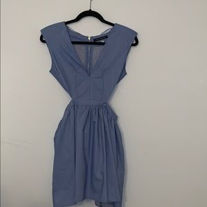 Denim Blue Dress with side-cut-outs